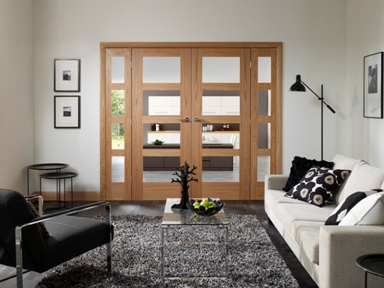 Shaker style bifold interior doors are great for living room