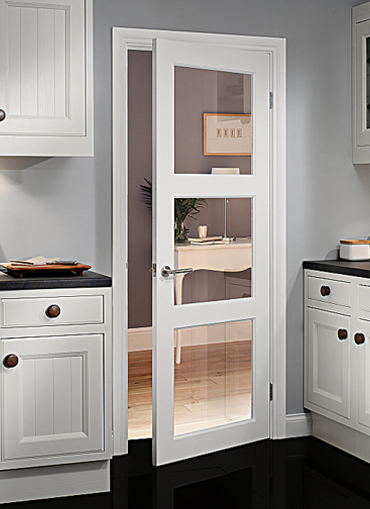 Shaker style interior wooden doors can be painted