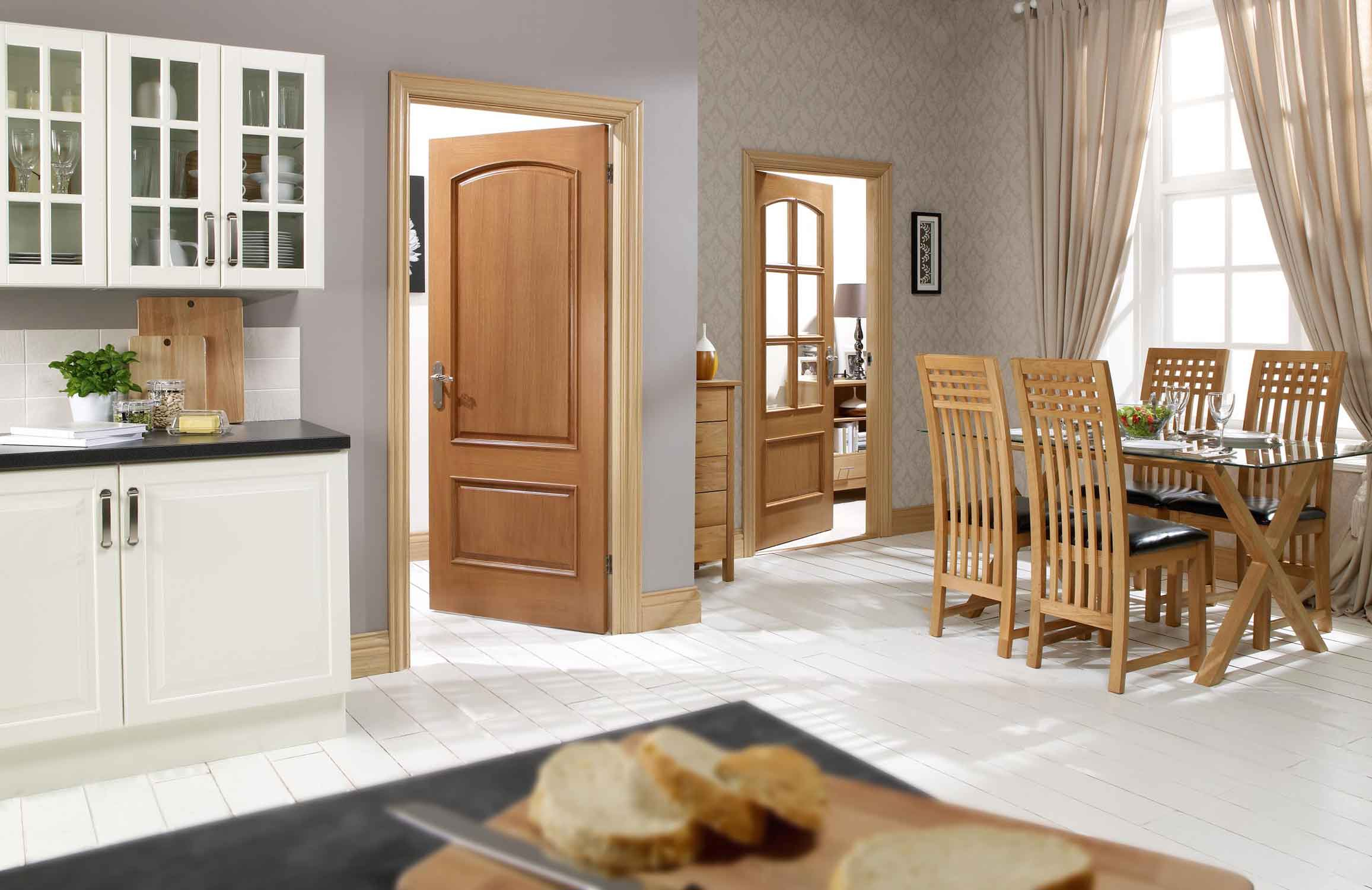 Solid core raised panel interior doors are frequently used furniture elements
