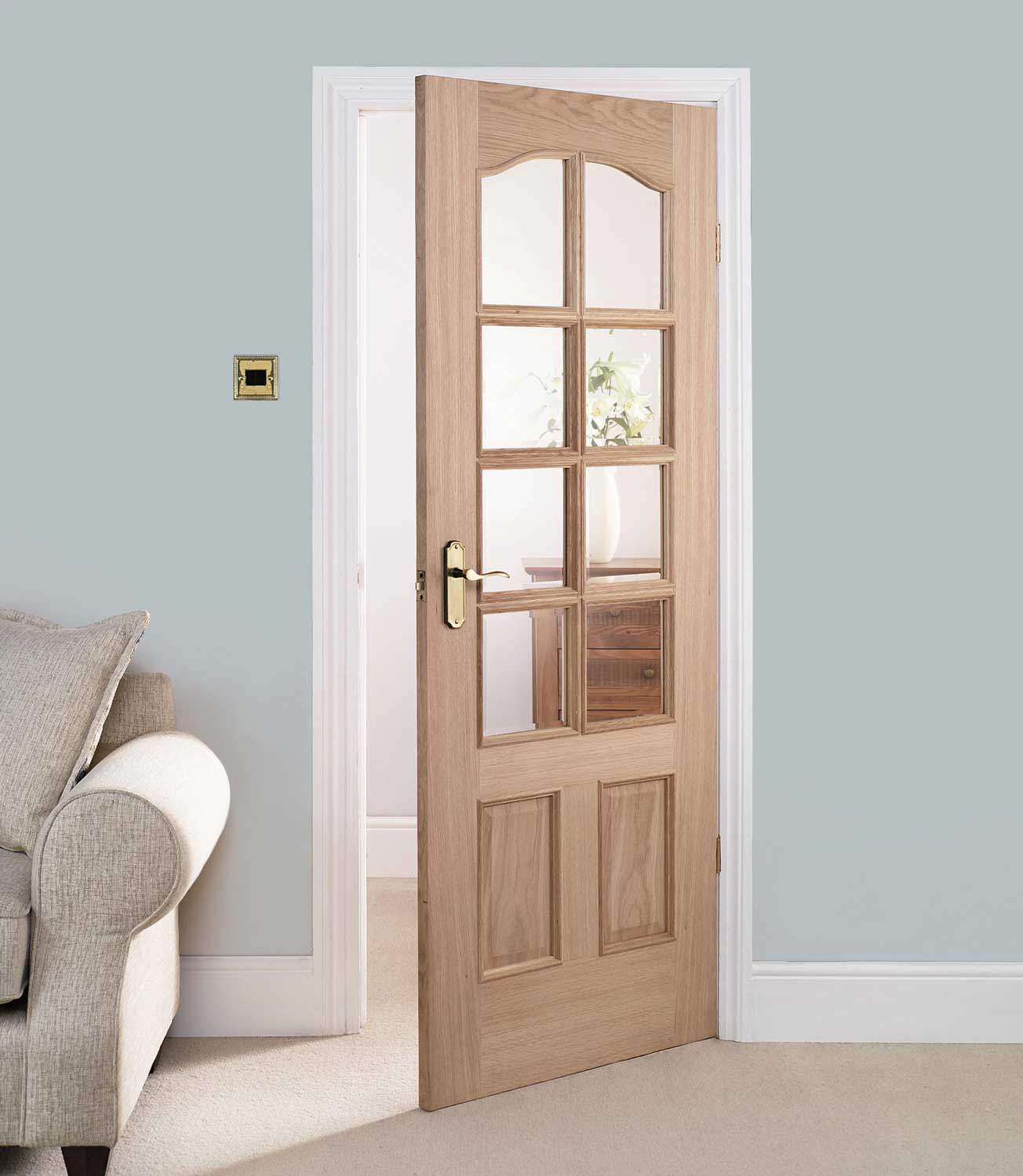 Solid oak raised panel interior doors may be found in many furniture units