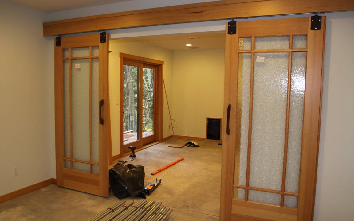 Solid wood doors with glass panels are great for living rooms and bedrooms