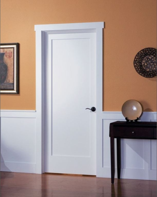 Solid wood shaker style interior doors are popular