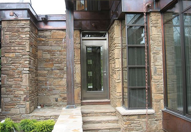 Stainless steel entry doors for residential houses and offices