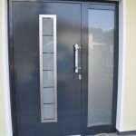 : Steel entry doors with sidelights and transom for enhanced protection