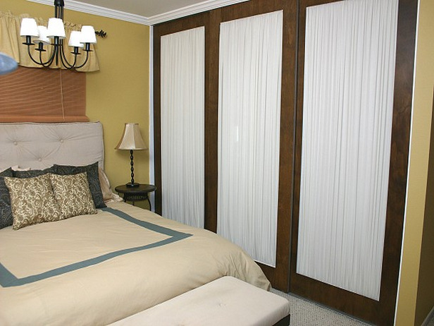 Unique sliding interior doors will decorate a closet