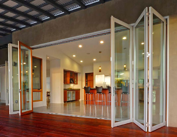 Used exterior folding doors found online can be restored