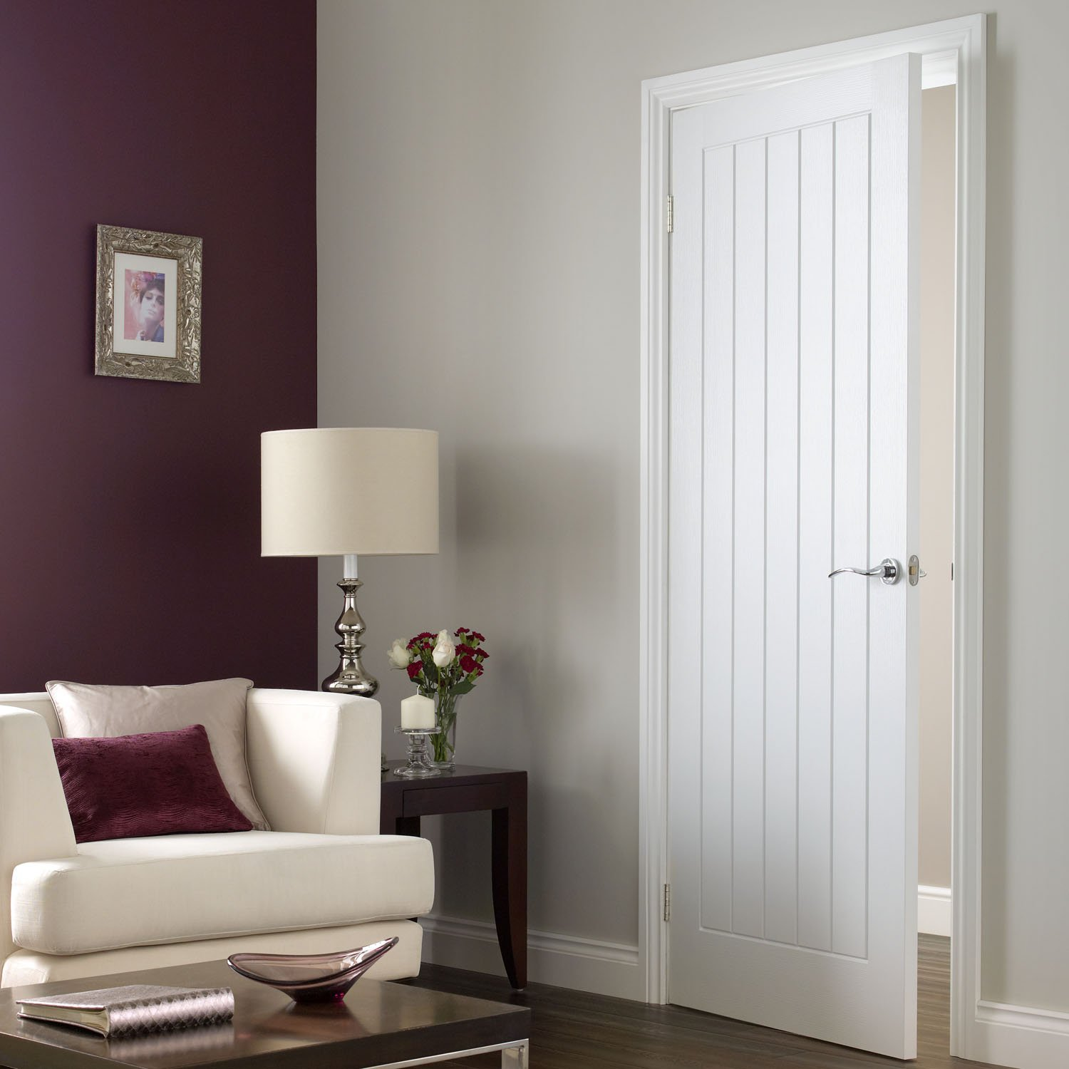 White interior doors for sale look very elegant and add light to your house