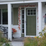 : Wood storm door with removable glass have become popular