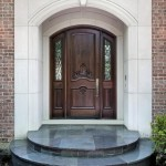 : Wooden front doors with sidelights can be elegantly decorated