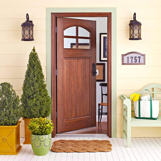 Decorate front door entry is designed for contemporary houses