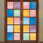 : Decorative front door window tint reflects the ambience