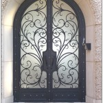 : Decorative front doors with wrought iron give old fashioned look