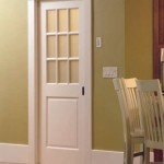 Glass over panel interior door is a classic style of a kitchen door