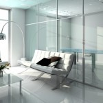: Interior insulated glass doors make the apartment visually larger and brighter