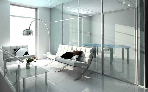 Interior insulated glass doors make the apartment visually larger and brighter