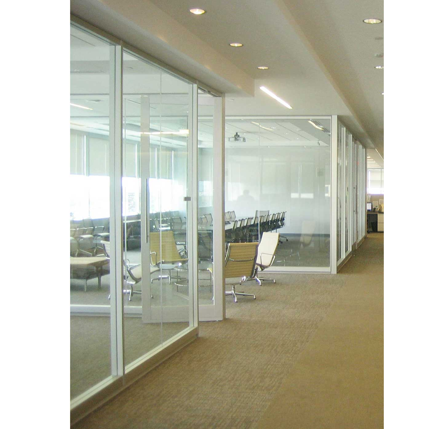 Interior office door with glass panel looks elegant