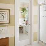 : Interior panel door with glass may be chosen for your stylish classic bathroom