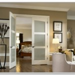 : Interior slab door with frosted glass for the rooms where light and privacy are needed