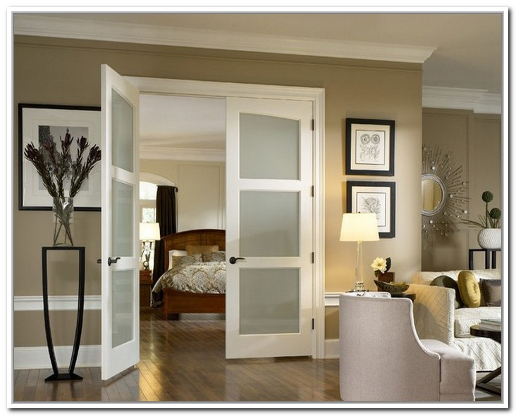 Interior slab door with frosted glass for the rooms where light and privacy are needed