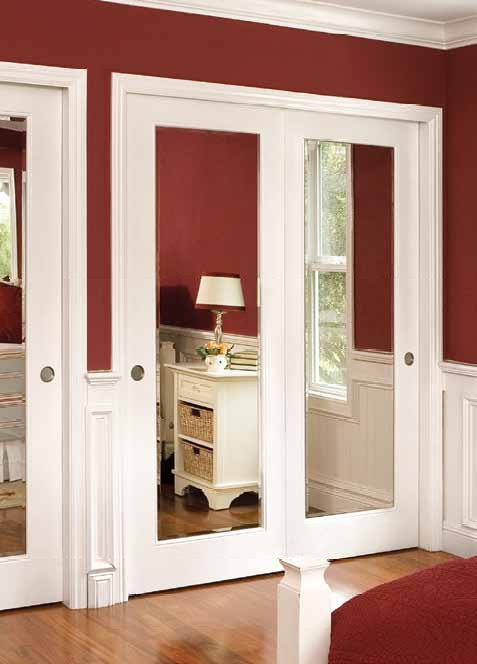 Interior slab door with mirror is good for offices or other public premises