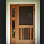 : Interior wood screen door can be converted into a protective storm door for the winter months