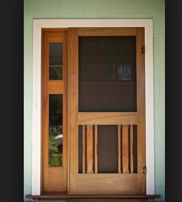 Interior wood screen door can be converted into a protective storm door for the winter months