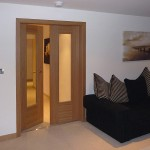 : Oak glass panel interior door is durable