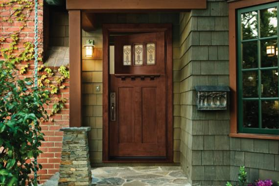 Rustic entry doors for sale are made of real hardwood - oak or cherry
