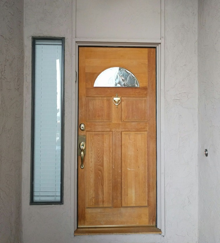 Entry wooden door with glass