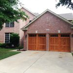 : garage door design with cedar stain classic style