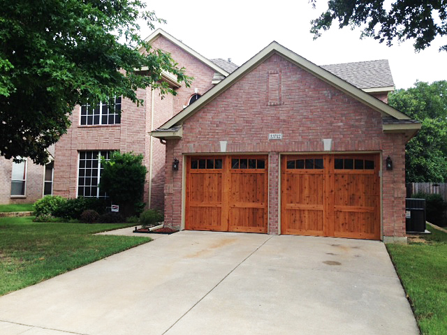 garage door design with cedar stain classic style