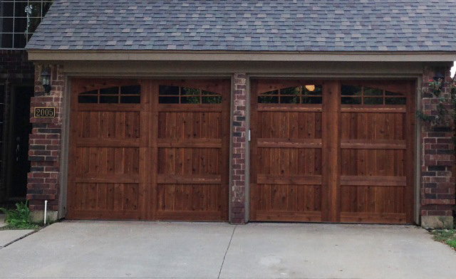 install dark oak stain garage door