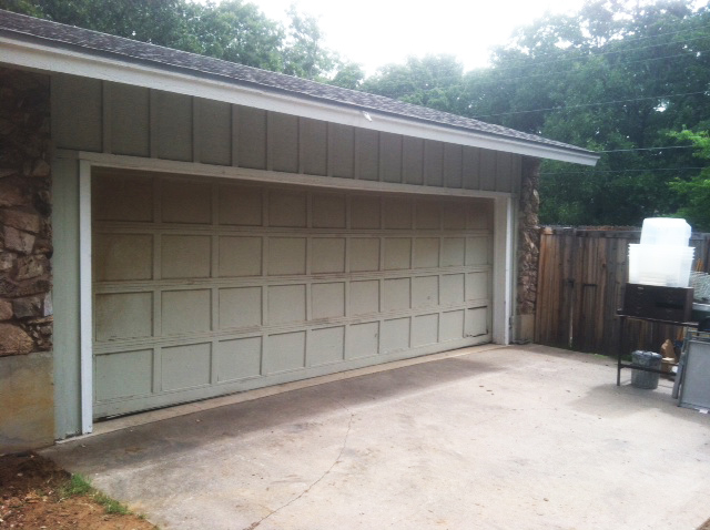 white cedar garage door in texas