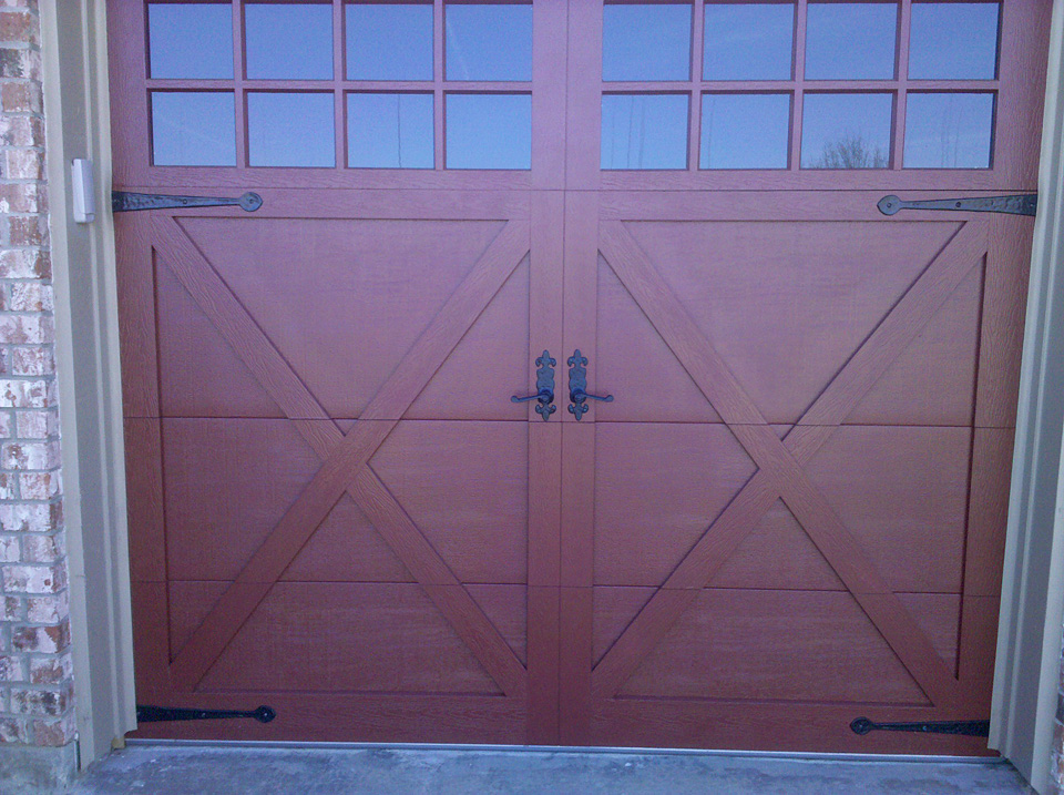 wood garage door with square glasses