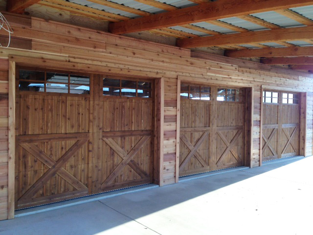 wood garage doors country style